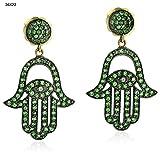 Tsavorite Hamsa Style Dangle Earrings in 14K Yellow Gold & Sterling Silver