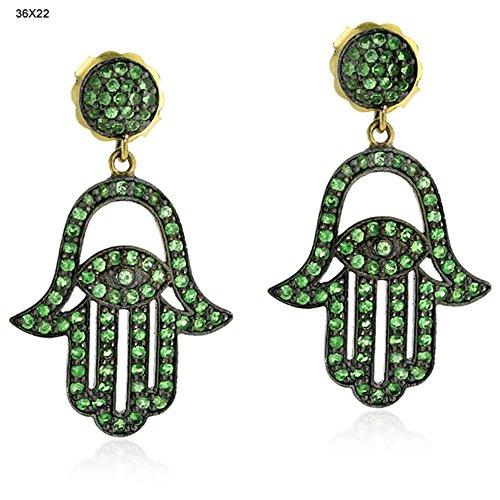 Tsavorite Hamsa Style Dangle Earrings in 14K Yellow Gold & Sterling Silver by Mettlle