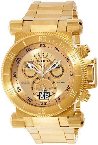 Invicta 17643 Men's Coalition Forces Gold Tone Dial Yellow Gold Steel Bracelet Chronograph Watch