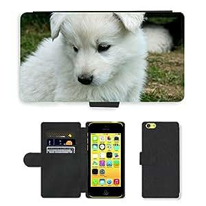 PU LEATHER case coque housse smartphone Flip bag Cover protection // M00116240 Perro de perrito negro Schäfer // Apple iPhone 5C