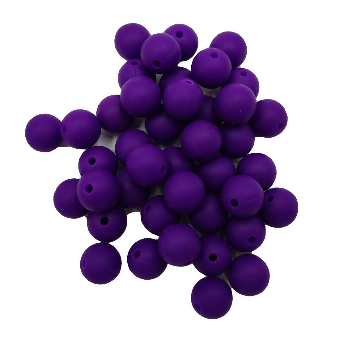 50pcs Classic Purple Color Silicone Round Beads Sensory 15mm Silicone Pearl Bead Bulk Mom Necklace DIY Jewelry Making Decoration