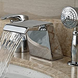 Single hand polished chrome glass waterfall faucet faucet with handheld shower head Mount Bridge 3 pcs.