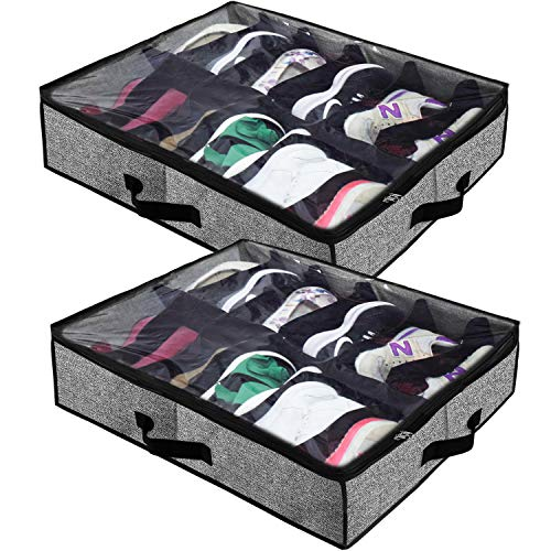 Homyfort Under Bed Shoe Storage Organizer for Closet, Shoe Container Box Bedding Storage with Clear Cover (12 Pairs), Set of 2 Black with Printing