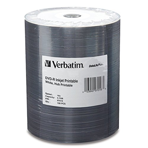 Verbatim 4.7GB up to 16x DataLifePlus White Inkjet Hub Printable Recordable Disc DVD-R 100-Disc Tape Wrap 97016 2-Pack by VerbaTim