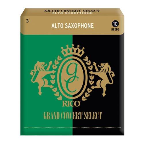 Rico Anches Rico sé lectionné es Grand Concert pour saxophone alto, force 3.0, pack de 10 D' Addario Ltd RGC10ASX300