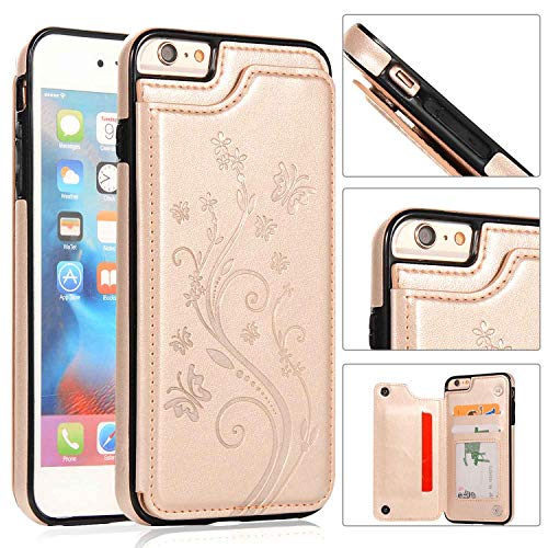 Card Butterfly Credit - iPhone 6S Wallet Case,iPhone 6 Slim Fit Wallet Case for Women/Men,Aprilday Premium Leather Purse Case [Butterfly Flower] Durable Shockproof Cover with Wallet&Card Holder&Kickstand -4.7in Gold