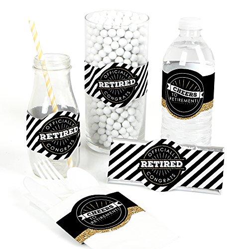 Happy Retirement - DIY Party Supplies - Retirement Party DIY Wrapper Favors & Decorations - Set of 15 -