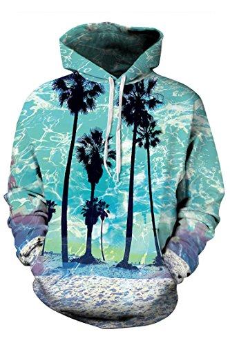 Timemory Unisex Beach Printed Pockets Hoodie Sweatshirt L Print #20 (Santa Hoodie)