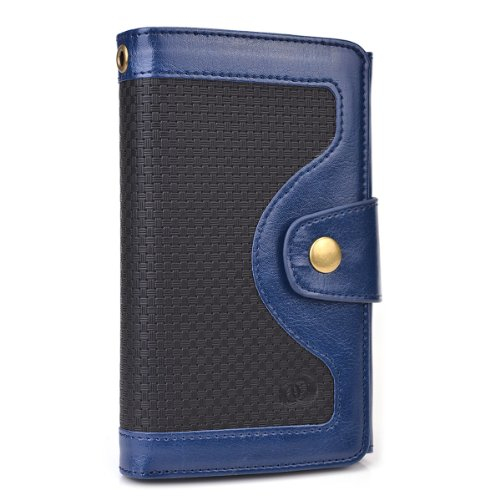 Kroo Universal BiFold Wallet with Snap Button Strap for 5.5-Inch Smart Phones - Non-Retail Packaging - Blue