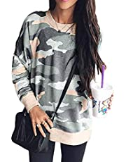 Shawhuwa Womens Camo Sweatshirts for Leggings Round Neck Long Sleeve Winter Blouse for Legging Blue M