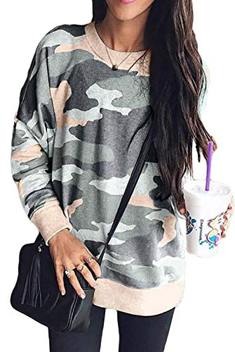 (Basic Sweatshirt for Women Camo Print Crewneck Novelty Loose Fit Casual Pullover Tops for Winter Army Green L)