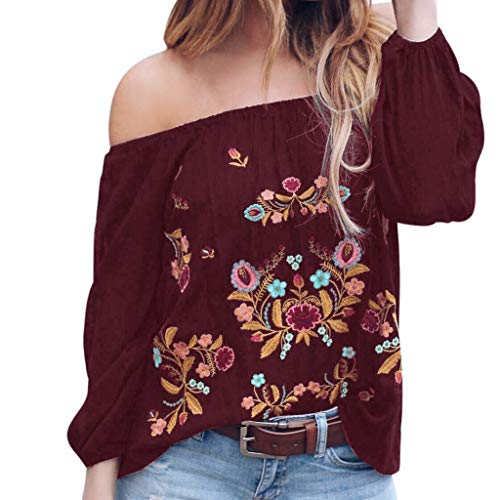 XOWRTE Women's Tops Plus Size Off Shoulder Print Long Sleeve Pullover Blouse T-Shirt for $<!--$3.30-->