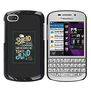 GOODTHINGS Funda Imagen Diseño Carcasa Tapa Trasera Negro Cover Skin Case para BlackBerry Q10 - pan tostado desayuno té de alimentos por la mañana