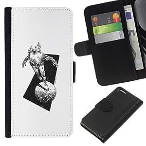 Be-Star la tarjeta de Crédito Slots PU Funda de cuero Monedero caso cubierta de piel Para Apple Iphone 5C ( Space Suit Moon Monster Travel Art Pencil )