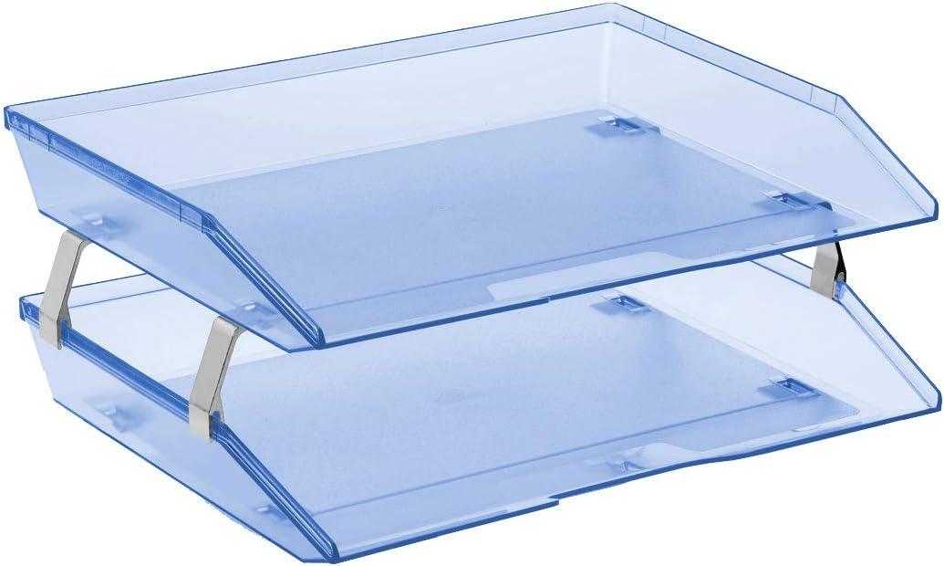 Acrimet Facility 2 Tier Letter Tray Side Load Plastic Desktop File Organizer (Clear Blue Color)