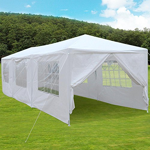 Yaheetech Large Heavy Duty Party Tent 10x30ft for Outdoor Wedding Event Dancing Party Gazebo Canopy with 8 Pcs Removable Side-Walls & 2 Zip Door White