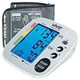 Vive Precision Blood Pressure Machine - Heart Rate Monitor - Automatic BPM Upper Arm Cuff - Sphygmomanometer Heartbeat Measurements For Hypertension Diagnosis and Accurate Pulse Readings (Silver)