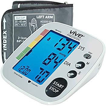Vive Precision Blood Pressure Machine - Heart Rate Monitor - Automatic BPM Upper Arm Cuff - Sphygmomanometer for Hypertension and Accurate Pulse (Silver, ...