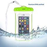Universal Waterproof Case, WEKSI Transparent Luminous PVC Dry Bag Pouch for IPhone 7 7 Plus 6 6S 6 Plus 6S Plus, Galaxy S7 Edge S6 Edge S7 S6 S5 S4 S3, Galaxy Note 5 4 3 Green
