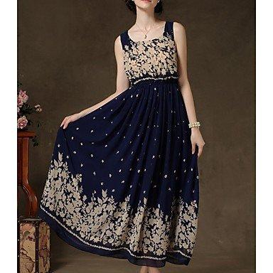 PU&PU Robe Aux femmes Swing Chic de Rue,Imprimé Col Arrondi Maxi Polyester , dark blue , m