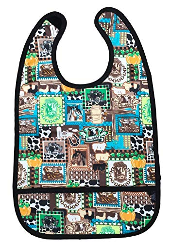 Adult Clothing Protector Bib with Front Pockets (Barn Animals)