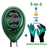 Kyпить Soil pH Meter,Soil Tester Kit Include 3-in-1 Soil Moisture Meter for pH/ Moisture/ Light and Garden Genie Gloves with Claws, Garden/ Farm/ Lawn/ Flowerpot/ Home Tools,Tester for Indoor/ Outdoors Plant на Amazon.com