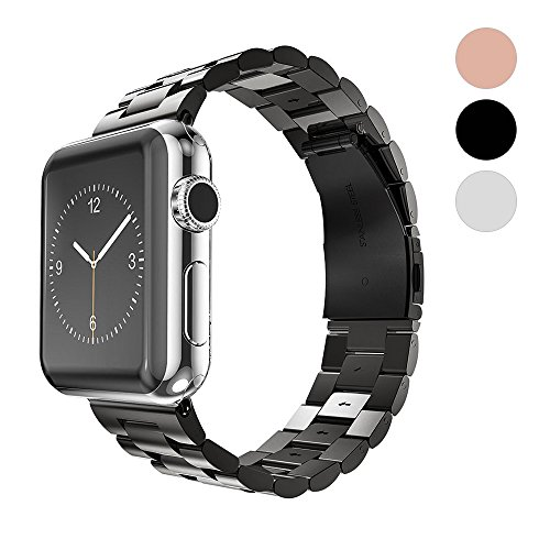 for Apple Watch Band Solid Stainless Steel Metal iWatch Metal Link Bracelet Business Replacement iWatch Strap for Apple Watch Series 3 Series 2 Series 1 Sport and Edition (Black, 38mm) by WAfeel