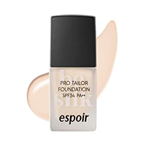 ESPOIR Pro Tailor Foundation Be Silk SPF34 PA++ 10ml #1 Vanilla | Long Lasting Silky-Smooth Makeup with Excellent Cover | Korean Skincare
