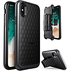 iPhone X Case, i-Blason Transformer [Kickstand] Apple iPhone X 2017 Release [Heavy Duty] [Dual Layer] Combo Holster Cover case with [Locking Belt Swivel Clip]