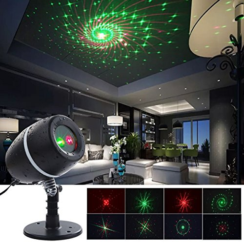 YMing Star Motion Shower Laser Fairy Remote Control Christmas Lights,9 Patterns Red and Green Star Slide Galaxy Show Laser Lights Projector for Christmas Indoor Outdoor Holiday - Christmas Blinking Background Lights