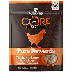 Wellness CORE Pure Rewards Natural Grain Free Dog Treats, Soft Chicken & Lamb Jerky Bites, 4-Ounce Bag