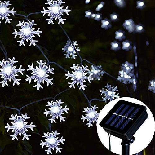 Homeleo Solar Powered Snowflake Lights, Outdoor Christmas Snowflake Decorations, Waterproof String Lights for Trees Ornaments Garden Patio Yard Pathway Decoration(Cold White,30 ft,50 LEDs)