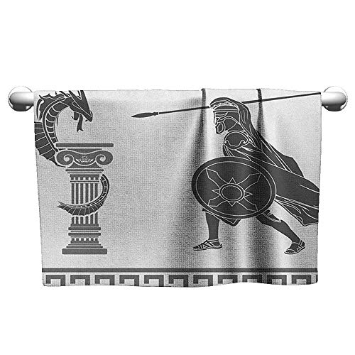 Bensonsve Floral Hand Towels Toga Party,Mythological Scene Ancient Hero and Dragon Hellenic Legend Fantasy, Grey Charcoal Grey White,Hooded Towel for Boys