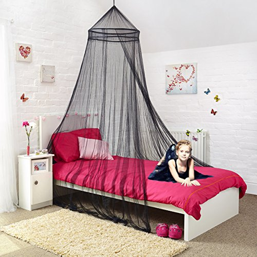 Canopy for Girls Bed – Stunning Beaded Black Bed Canopy - Quick and Easy To Hang Girls Bedroom Accessories - Perfect Gifts for Girls , Granddaughter gifts