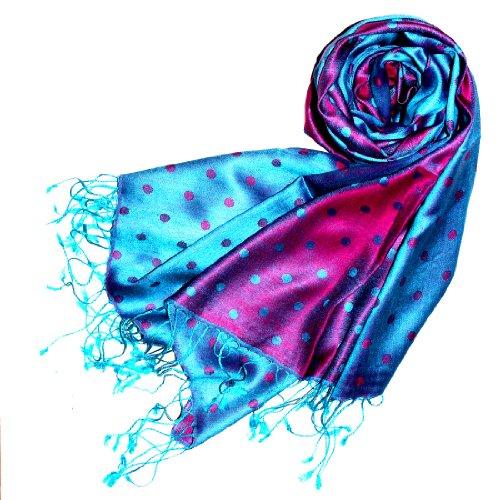 LORENZO CANA Italian Silk Scarf Pashmina Polka Dots Cyan Magenta 29x75'' 78059 - Silk Brocade Scarf