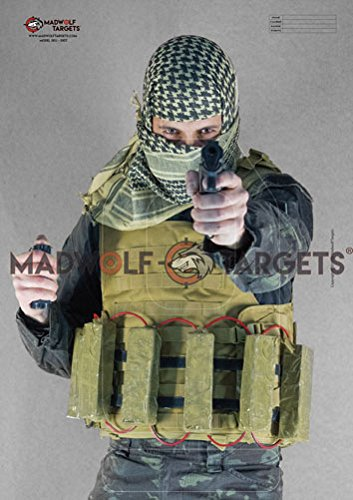 Silueta realista para tiro táctico y policial - Terrorista Yihadista con Cinturon Explosivo (84, 1 x 59, 4 cm) (Pack 20 siluetas ) Madwolf Targets