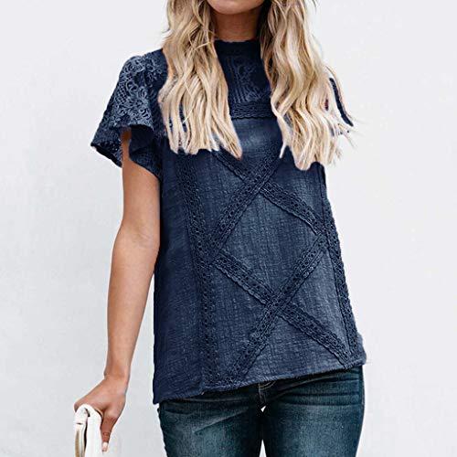shirt corta Abbigliamento Camicette manica originali Top Maglietta pizzo Navy Lencero in camicetta Top shirt da T donna Elegante T Bobolover wWFq8vx