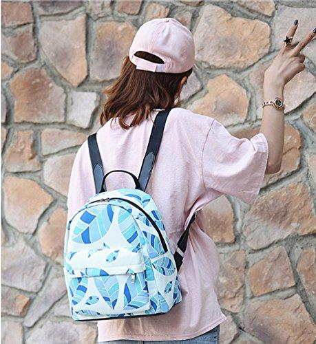 La Carrie Shop 0630# - Bolso al hombro para hombre blanco HA-whitetriangle GA-blueleaves