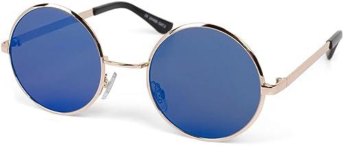 styleBREAKER gafas de sol con lentes de espejo redondas y planas, y montura de metal-acero fino, uni...