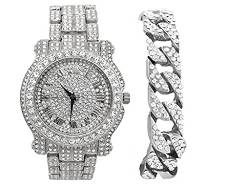 (Bling-ed Out Silver Round Luxury Mens Watch w/Bling-ed Out Cuban Bracelet - L0504B - Cuban Silver)