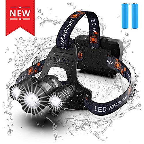 Headlamp, 5500 Lumen LED Headlight, Waterproof Flashlight with 2 Rechargeable Batteries & Micro USB Cable, Adjustable Work Light for Outdoors Mining Camping Biking