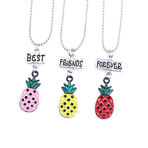 Strawberry Charm Necklace - SKEINS BFF Necklaces For 3 Fruit Pineapple Necklace Jewelry Kids Necklace for Girl (Pineapple Necklace)