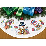 Dimensions Needlecrafts Counted Cross Stitch, Three Snowmen Tree Skirt