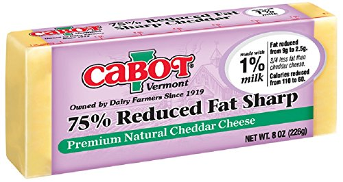 CABOT Vermont 75% Reduced Fat Cheddar Cheese Bar, 8 Ounce (Pack of 12)