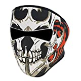 Unique 2 in 1 Reversible Skull Winter Snowboard Ski Full Face Mask Soft Neck Ear Warmer Protection Vented Fitted Velcro Adjustable Windproof Biker Motorcycle Facemask