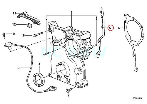 Gasket Timing E36 Cover (Genuine BMW E36 E38 E39 Z3 Lower Chain Case Metal Gasket OEM 11141740843)