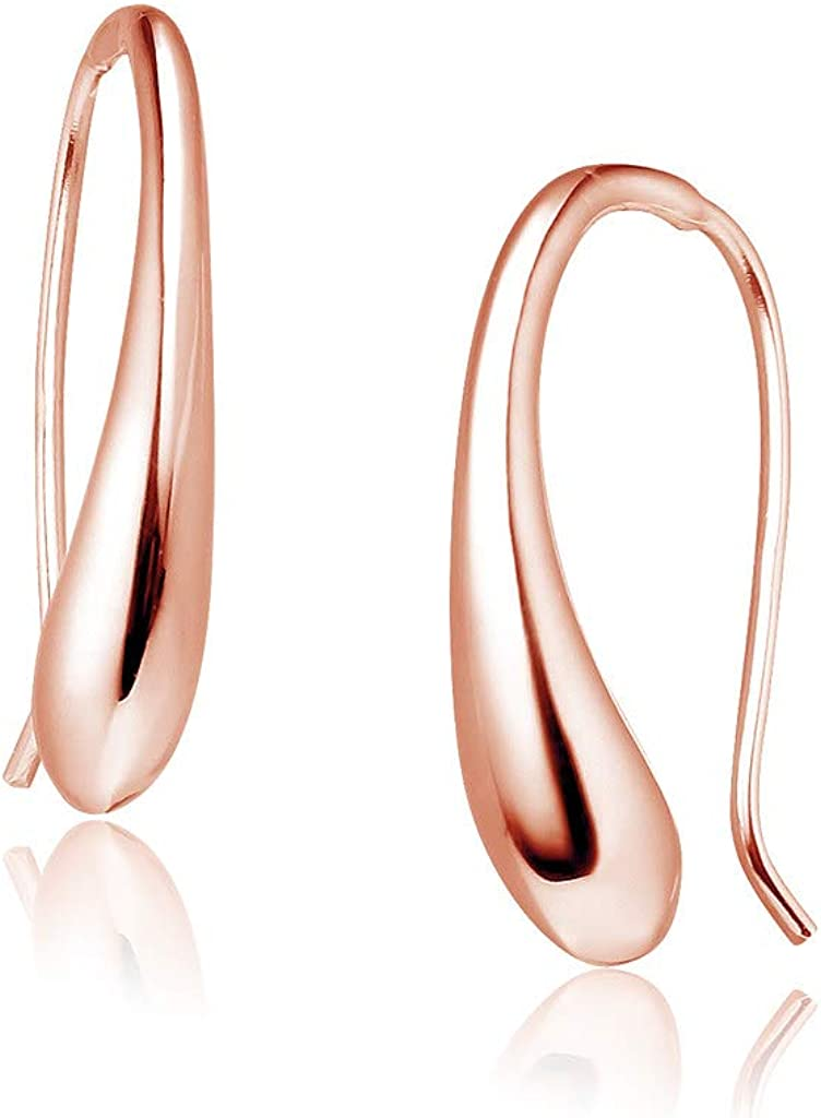 Big Apple Hoops - Summer Jewelry Sterling Silver Classic Hollow Puffed Teardrop Threader Dangle Earrings in 3 Color Silver, Gold, Rose for Men, Teens, Women
