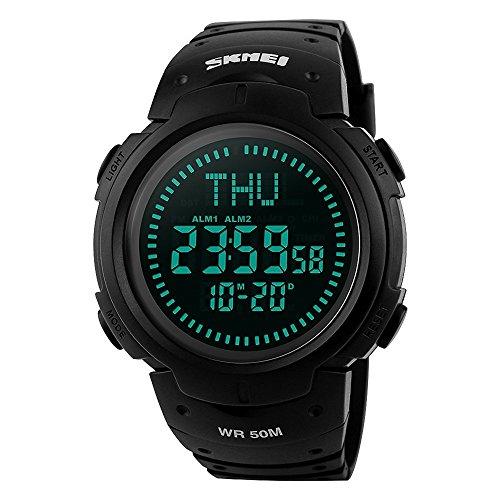 Men's Sports Digital Watch Compass 5ATM Waterproof Stopwatch Alarm Countdown Wristwatch-Black by SKMEI