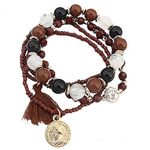 Gguogoo Bohemian Rhinestone Acrylic Bracelets Elastic Chain Pulsera