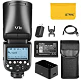 Godox V1-C 76Ws 2.4G TTL Round Head Camera Flash Speedlight Compatible for Canon,1/8000 HSS, 480 Full Power Shots,1.5 sec. Recycle Time,Rechargeable 2600mAh Li-ion Battery,10 Level LED Modeling Lamp